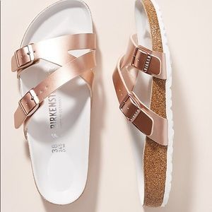 Birkenstock's rose gold Yao Sandals